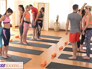 FitnessRooms group yoga session concludes with a internal ejaculation