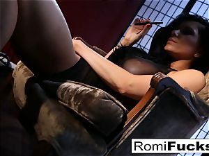 Romi Rain faux-cocks herself