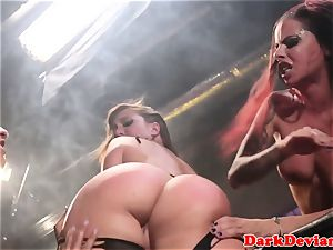 female domination 3 lesbians rough strap-on tear up session