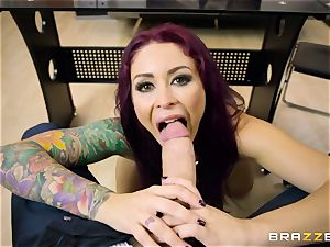 Mature tattooed secretary Monique Alexander with giant orbs tempts her boss and deep throats his hard-on