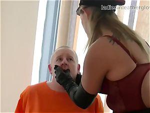 Smoking leather dressed female dominance in gloves fetish domination