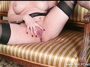 milf takes off off retro lingerie fucktoys jewel in nylon heels