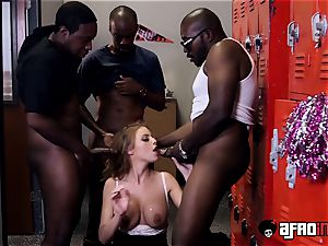 instructor Britney Amber gets a individual blowbang with BBCs