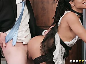 hot black maid nearly get caught