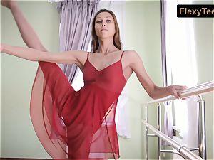 wild gymnast Inessa in a red dress