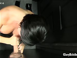 giant boobed cougar Shay deep-throats off strangers at gloryhole