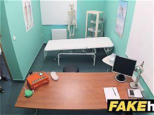 faux medical center petite ash-blonde Czech patient health test