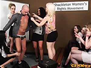 CFNM femdoms humiliating manmeat in group