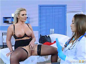 horny patient Phoenix Marie lezzie pulverize with Dani Daniels