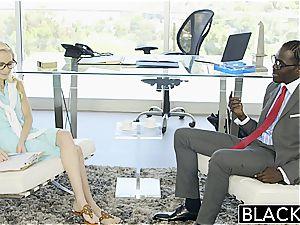 steamy secretary Odette Delacroix throats big black cock