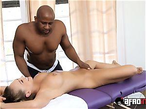 warm platinum-blonde Kagney Linn Karter treated by big black cock massagist