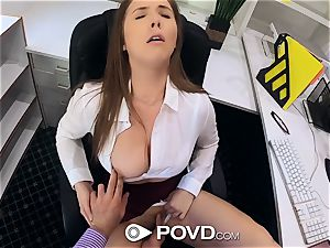beautiful assistant deep throats and humps for a promotion