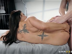 Raven Hart leaned over and plowed