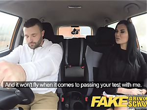 faux Driving school Jasmine Jae entirely nude orgy in car