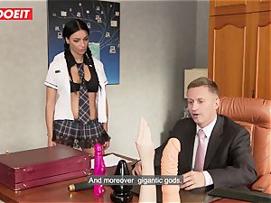 super-naughty school doll puts all Kind of Things in Her donk