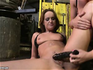 Andy dark-skinned and Kathia Nobili frolicking with faux-cock