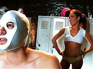huge-titted brunette Capri ravages an aspiring luchador