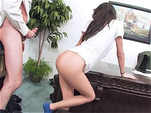 promiscuous brunette April ONeil getting her cunt broken by a monster manstick