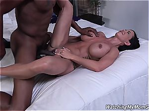 guy witnesses his busty stepmom go ebony