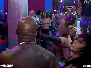 Mass pornography lovemaking in a striptease bar