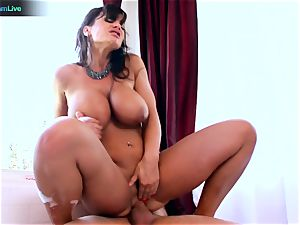 Lisa Ann enjoys sitting into Toni Ribas enormous pecker