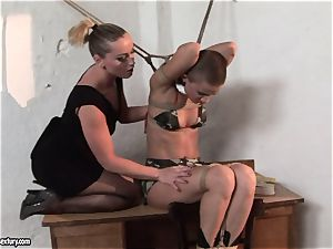 Kathia Nobili and C J babe cording of mitts