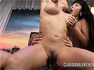 Claudia Valentine joins a couple for a threesome