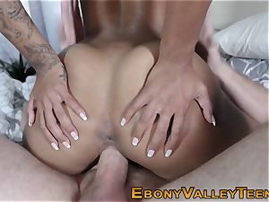 ebony nubile takes facial cumshot