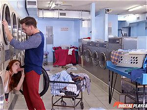 Lennox Luxe blows rock-hard pecker from a washing machine