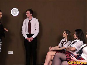 brit CFNM college girl dicksucking classmate