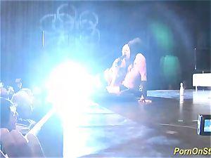 threesome intercourse showcase on public stage