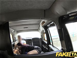 faux taxi secretary gal with thick melons and wet labia