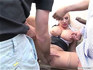 fans smoking gang touch wank with Michelle Thorne
