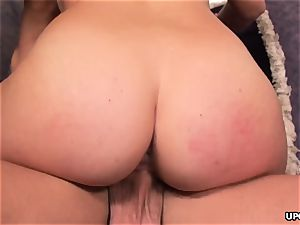 Katie glides down that humungous man meat as she cowgirl rides