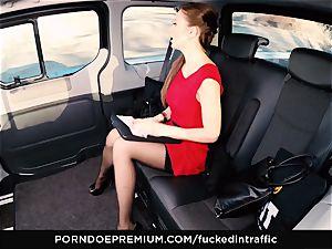smashed IN TRAFFIC Tina Kay footjob in the backseat