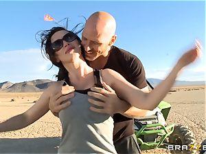 Nikki Benz riding on Johnny Sins hefty man-meat