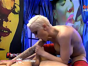 big-titted tatted babe Mila Milan very first Monster man meat