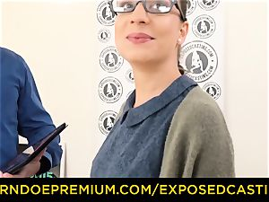 unveiled audition - Nerdy inexperienced black-haired beauty poked