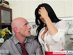 Office stunner in high high-heeled shoes Romi Rain poking