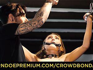 CROWD bondage smallish slave nympho fetish group hump