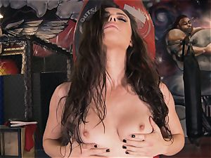Boxing honey Casey Calvert tugging in the boxing club