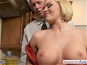 Krissy in the kitchen inhale and nails until his beef whistle erupts