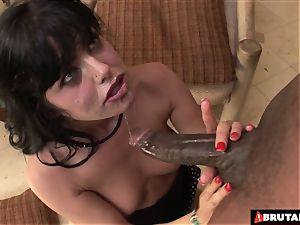 BrutalClips Sadie begs for a large black