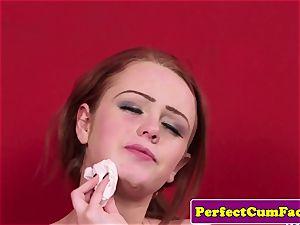 English ginger babe tugs until facial cum shot