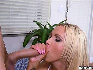 big-chested towheaded Nikki Benz lubed up and getting romped