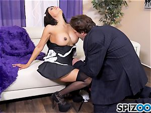 Maid Gabby Quinteros cleaning high high-heeled slippers adoring salami