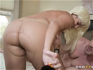 big-titted blonde Athena Palomino humped in her snatch