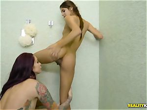 Rich female Monique Alexander tempts the timid timid latino maid