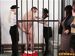 CFNM police female dom wanking off prisoner