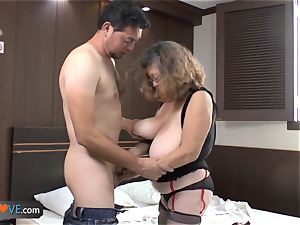 AgedLovE Latina chubby grandma pummeling youngster